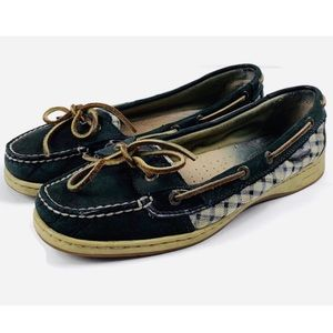 SPERRY TOP SIDER Navy Plaid Check Boat Shoes Sz 9
